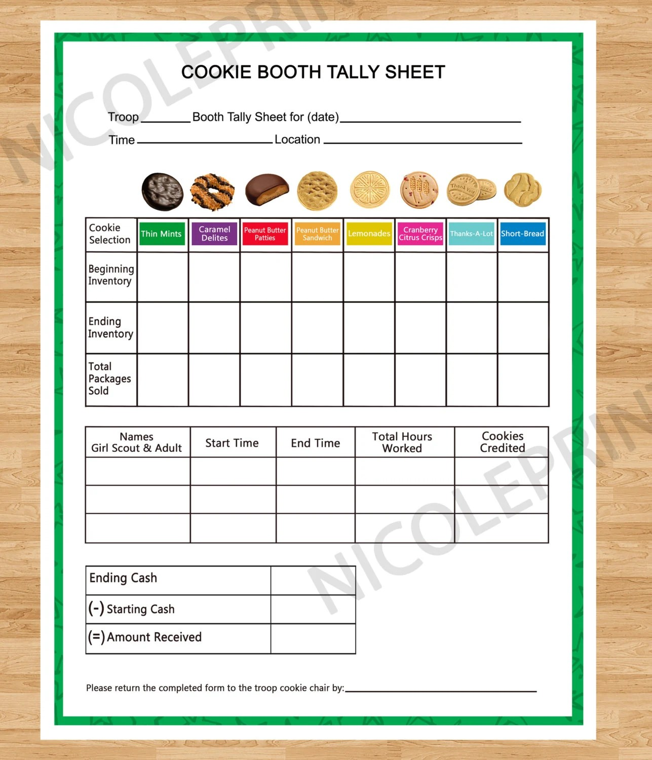 Cookie Booth Tally Sheet Cookies Can Be Customized