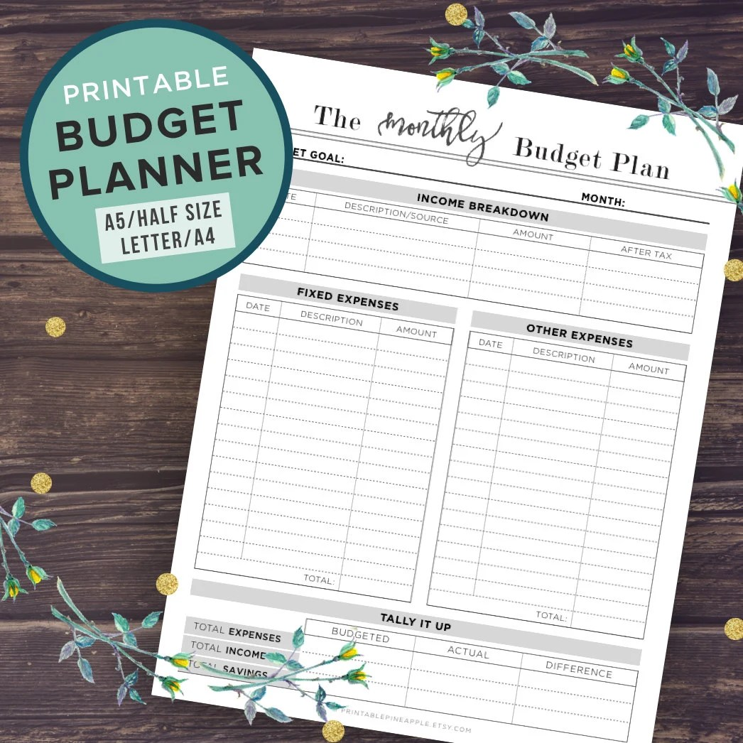 Budget Planner Printable Budget Planner Book A5 A4 Letter