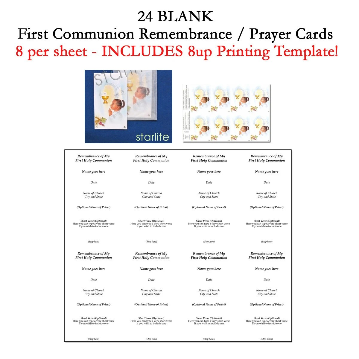 Printable First Communion Remembrance Cards 1st Communion