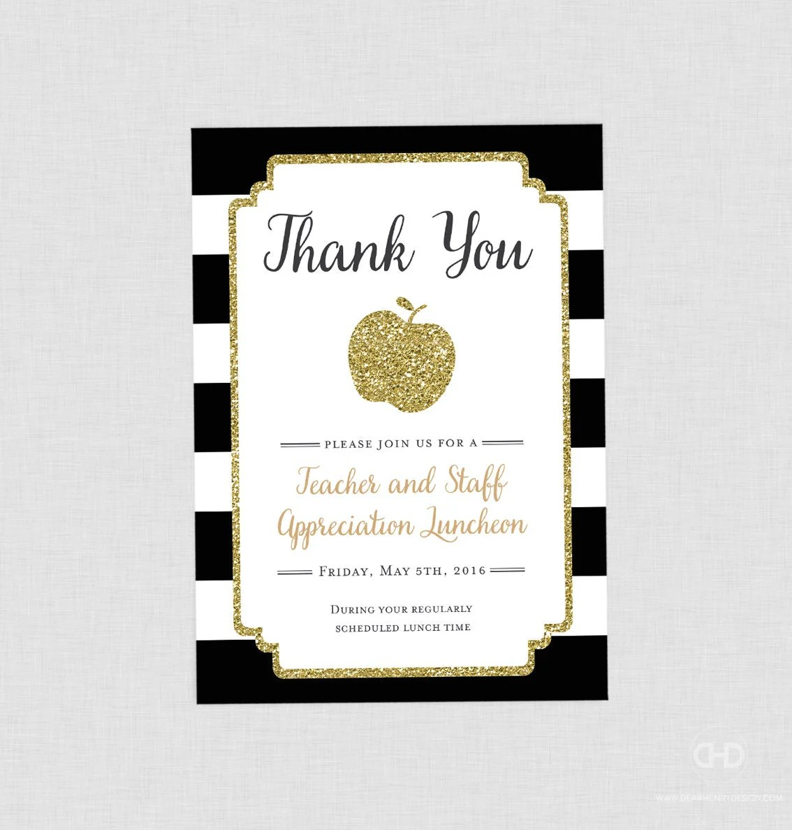 Teacher Appreciation Invitation Apple Printable Teacher