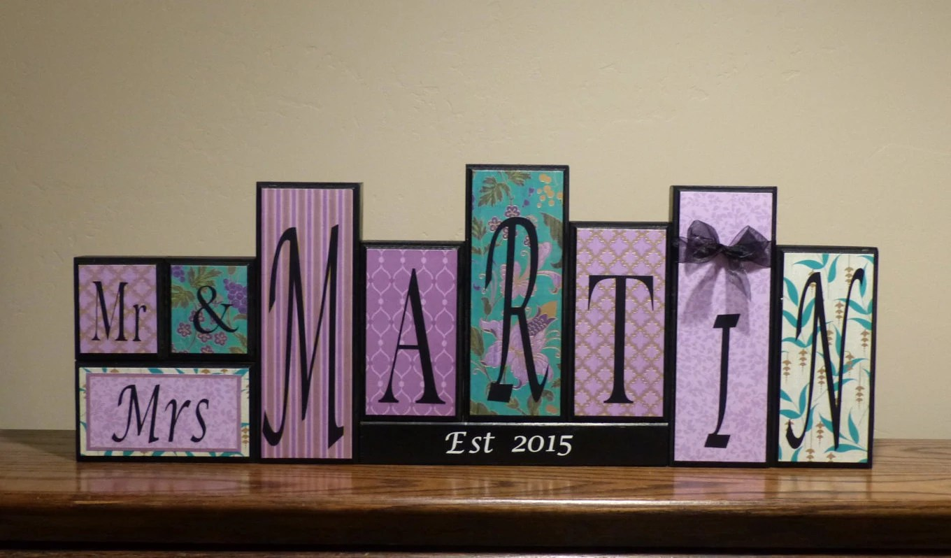 Mr. And Mrs. Family Name Block Letters Home Decor Unique