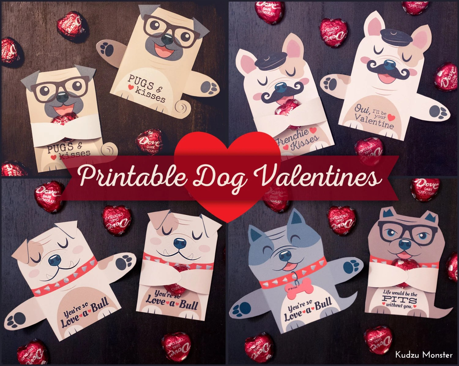 Dog Valentines Candy Huggers Printable Puppy Valentine Cards