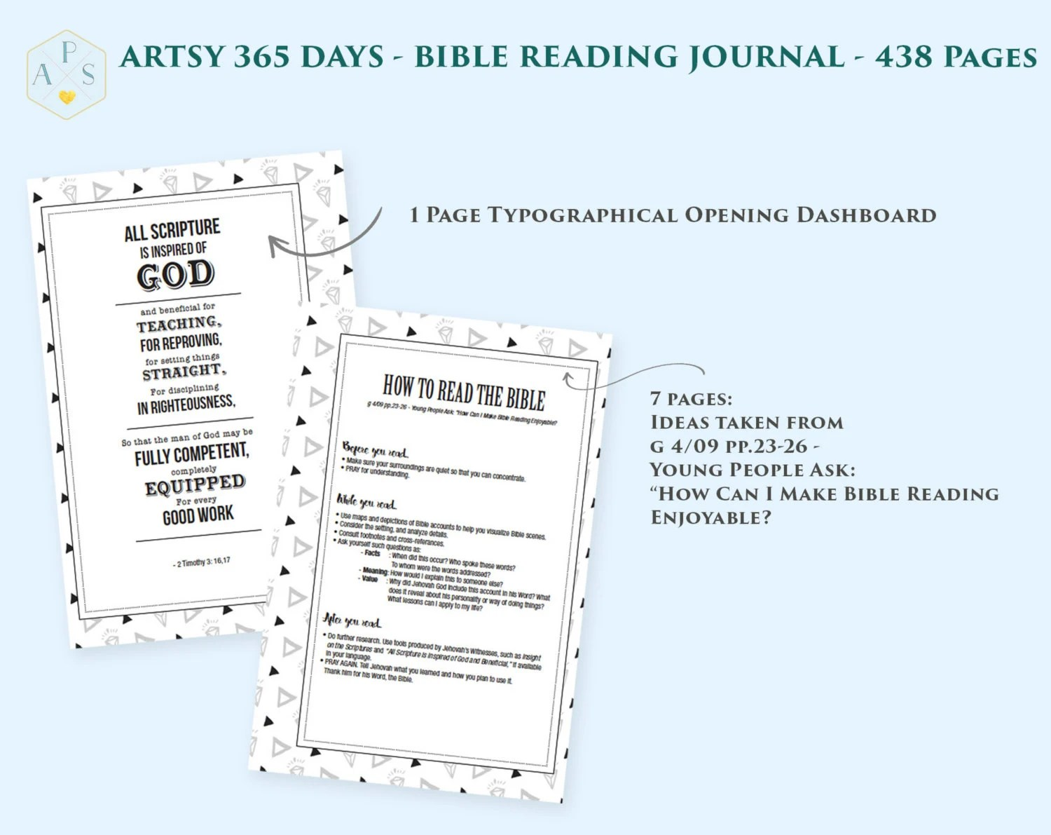 My 365 Days Bible Reading Journal Printable Book 438 Pages