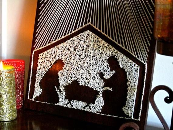 Christmas Manger String Art Christmas String Art By