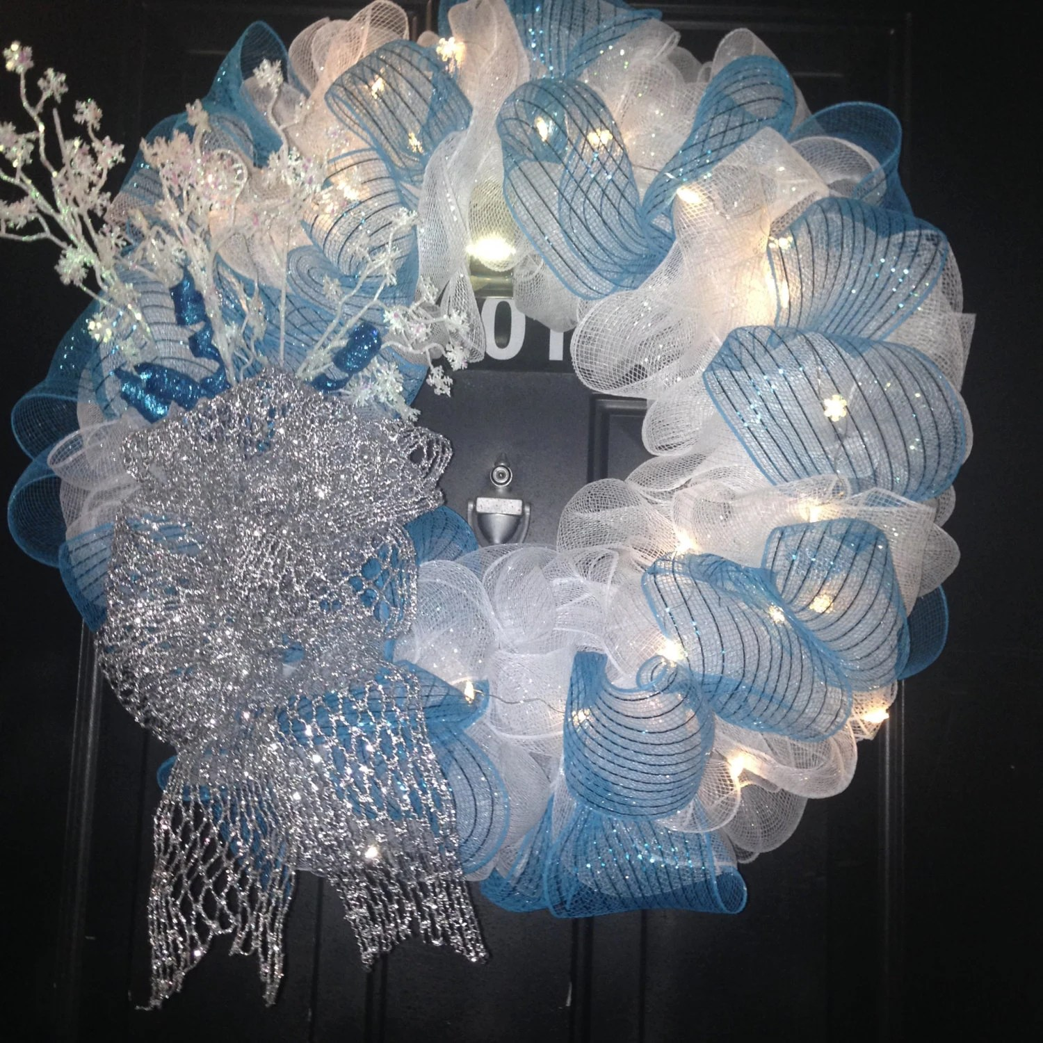 Blue And Silver Holiday Wreath