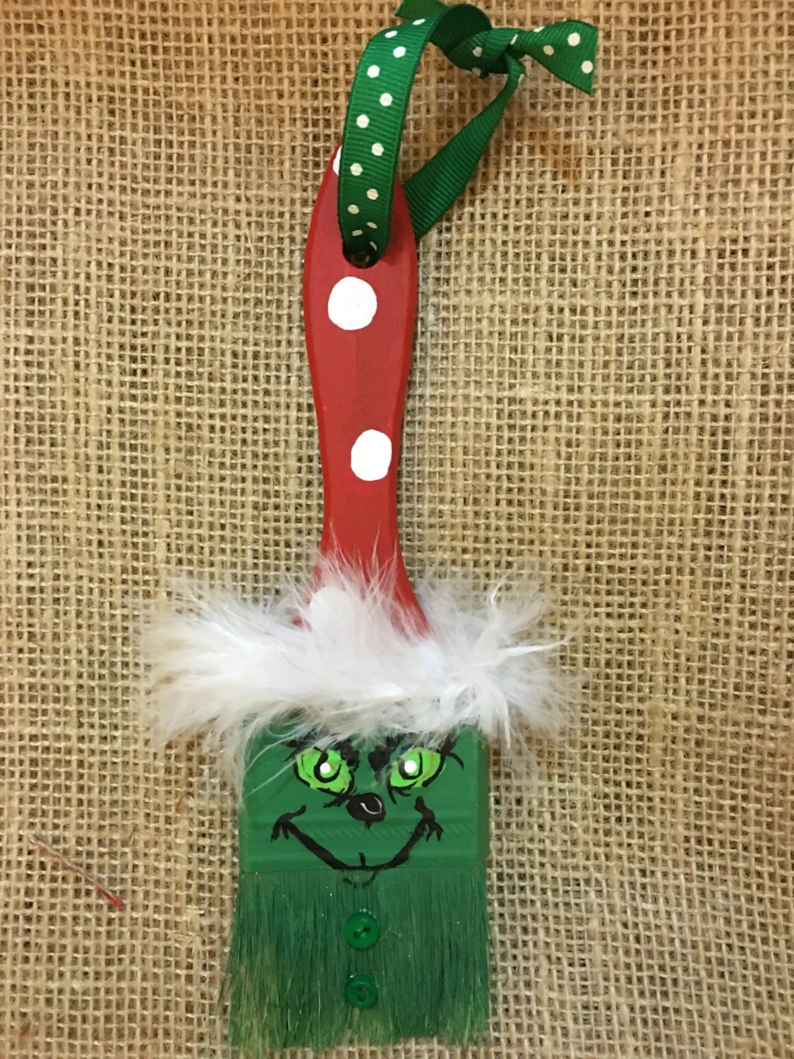 Grinch Paintbrush Ornament By BrushPileArt On Etsy