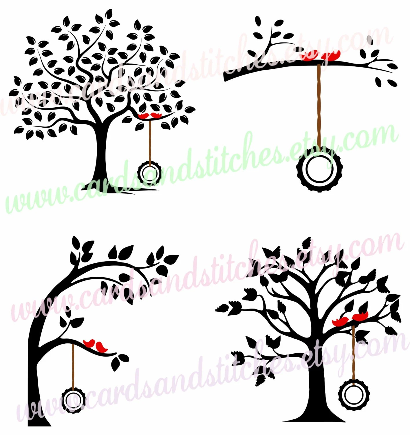 Trees SVG Tire Swing Tree SVG Digital Cut File Cricut