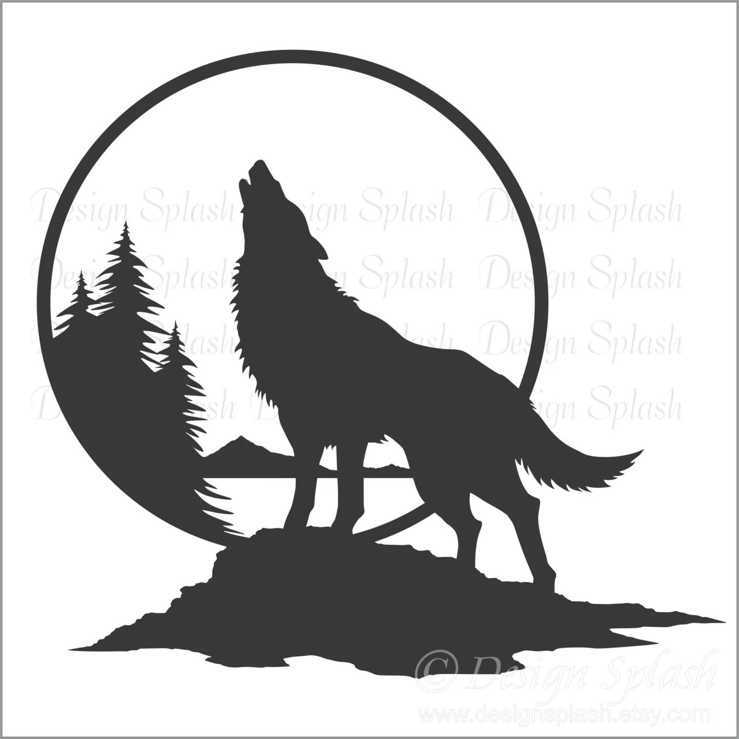 Wolf Wall Decal Wolf Howling At The Moon Art Home Wall