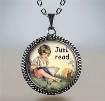 Just Read book necklace, book pendant, book lovers jewelry, librarian gift, teachers gift, bookworm gift, reader's gift, reader's pendant