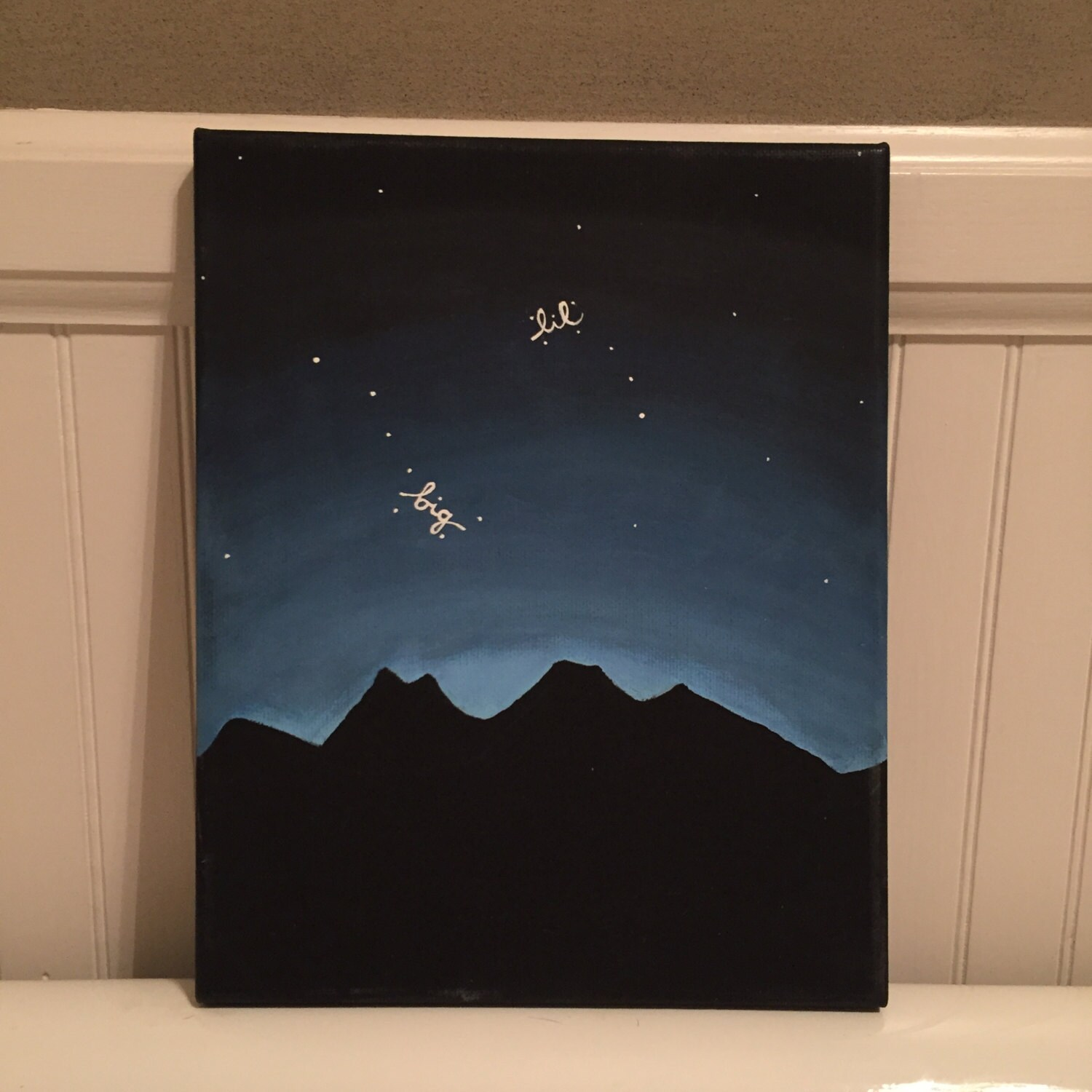 Big And Little Dipper Painting On Black Canvas 8 X