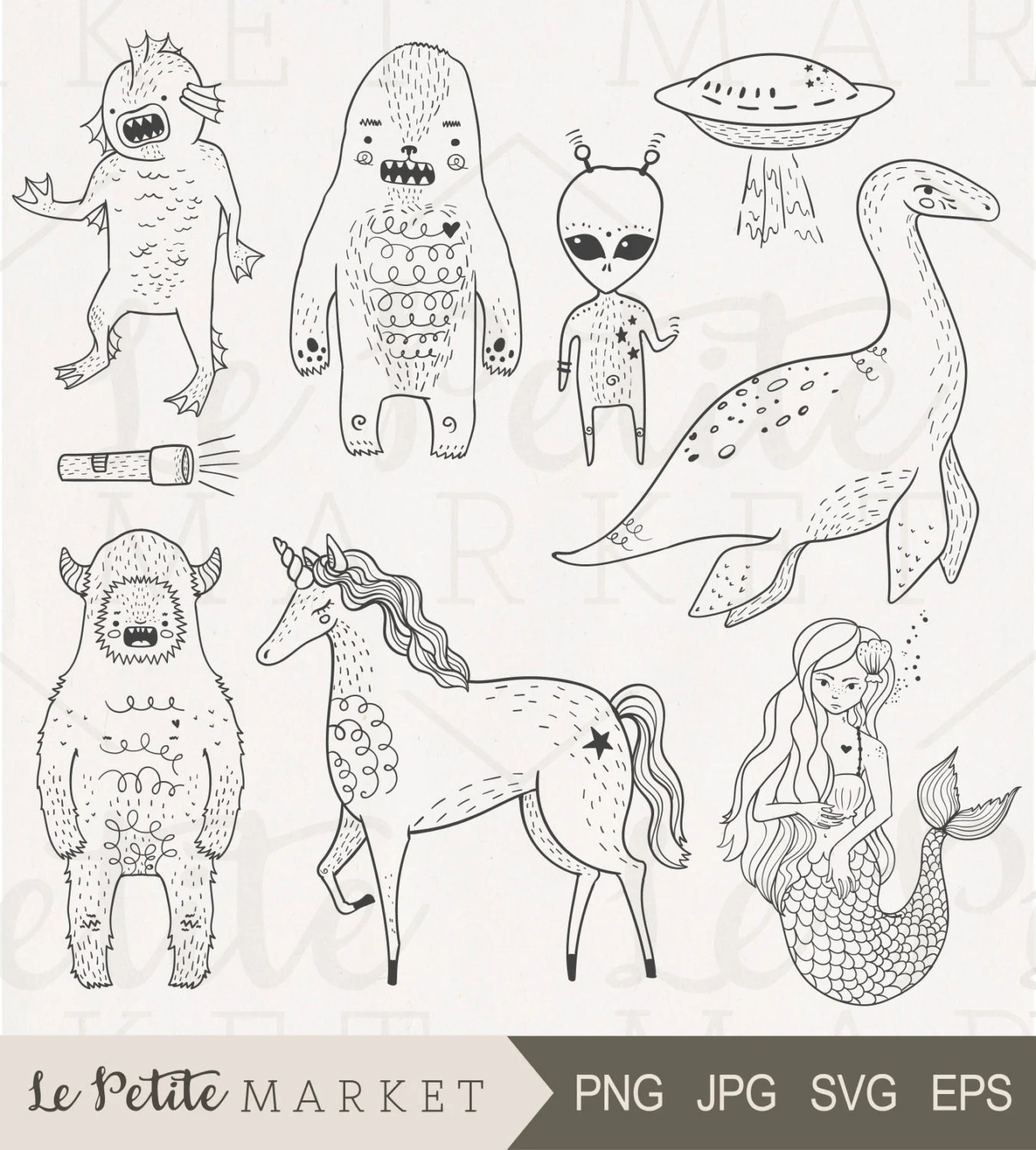 Hand Drawn Cryptozoology Clip Art Set Unicorn Clipart Loch