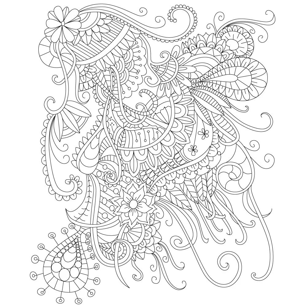 Adult Coloring Page Of Abstract Doodle Drawing For Stress