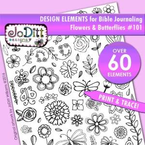 Design elements for Bible journaling - flowers & butterflies by JoDitt Designs