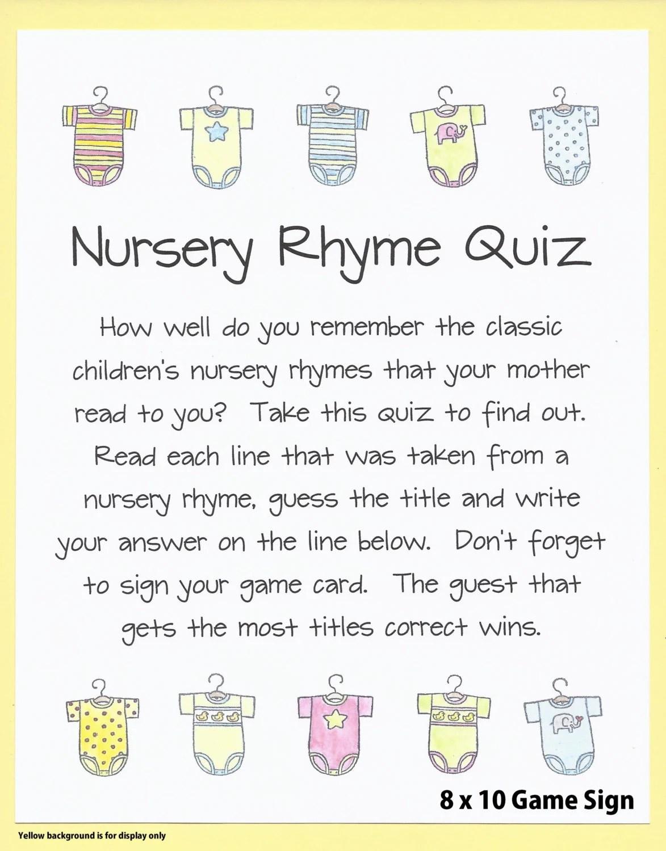 Nursery Rhyme Quiz Baby Shower Game Name The Nursery Rhyme