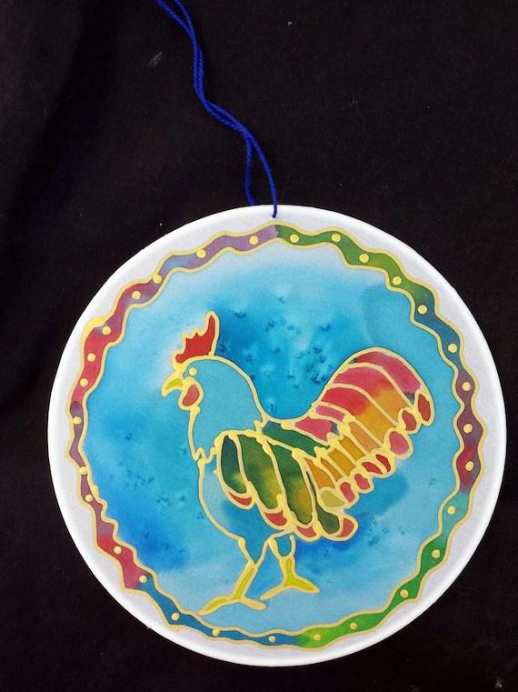 """Rooster Silk Suncatcher, whimsical hand painted silk art, 6"""" diameter sun catcher, chicken art, stained glass look, window art, wall decor"""