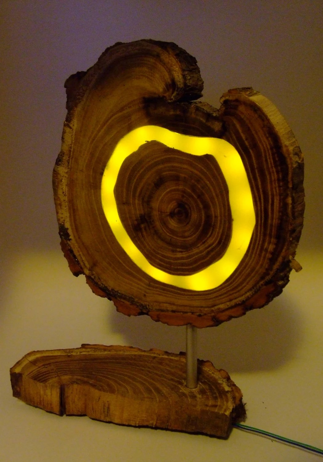 Wooden Yellow Led Lamp Acaciawood With Clear Epoxy Resin And