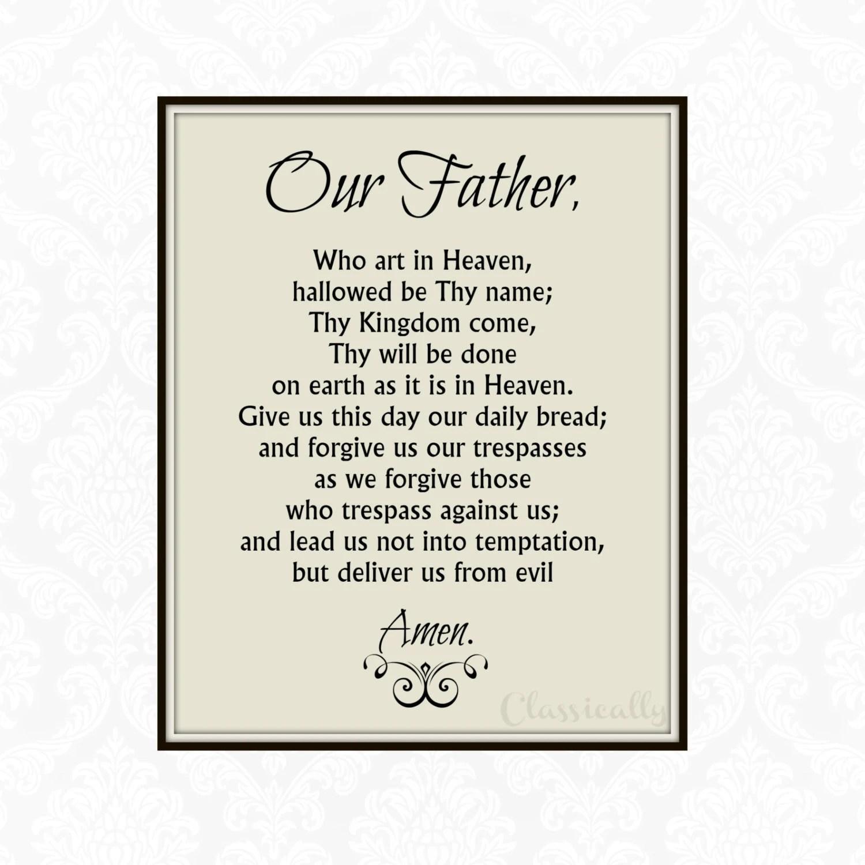 Our Father Prayer Printable Catholic Print Lord S