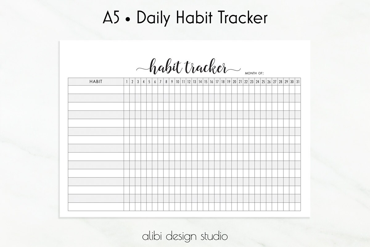Habit Tracker Habit Printable A5 Planner Inserts Daily Habits Printable Monthly Planner