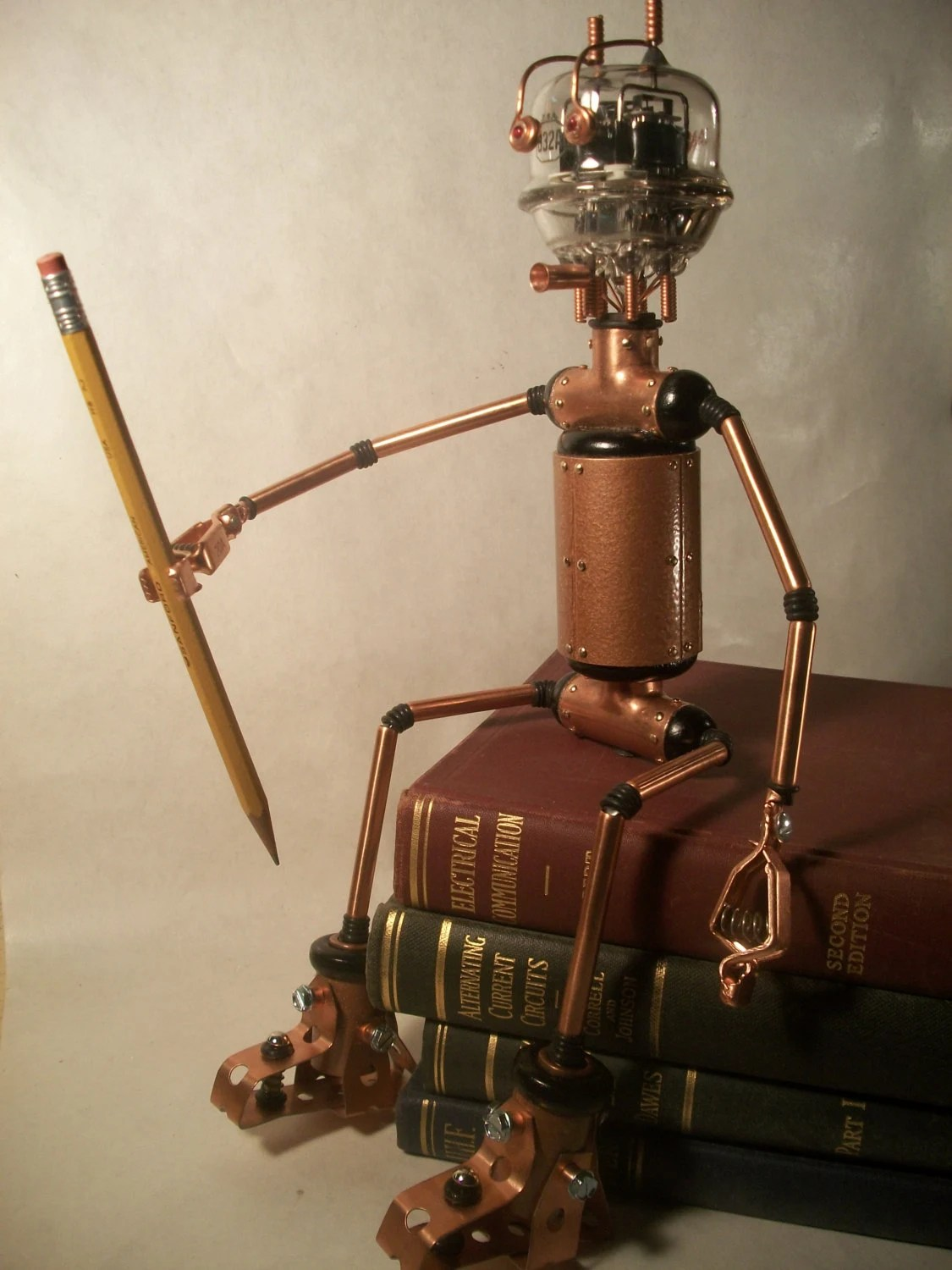 Steampunk Robot Sculpture Vintage Vacuum Tube Head Bendable