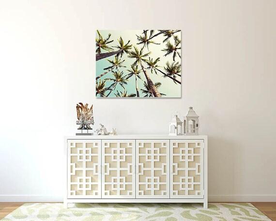 Large Canvas Wall Art Palm Tree Decor Mint Green Retro
