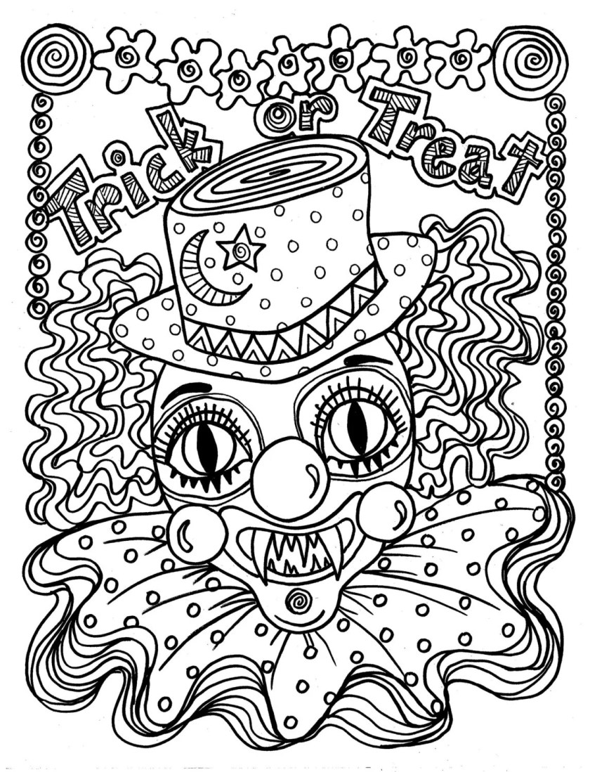 instant download scary clown halloween spooky coloring page