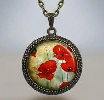 Watercolor Poppies necklace, poppy pendant, poppy necklace, poppy jewelry, poppy jewellery, Memorial Day pendant, poppy art charm