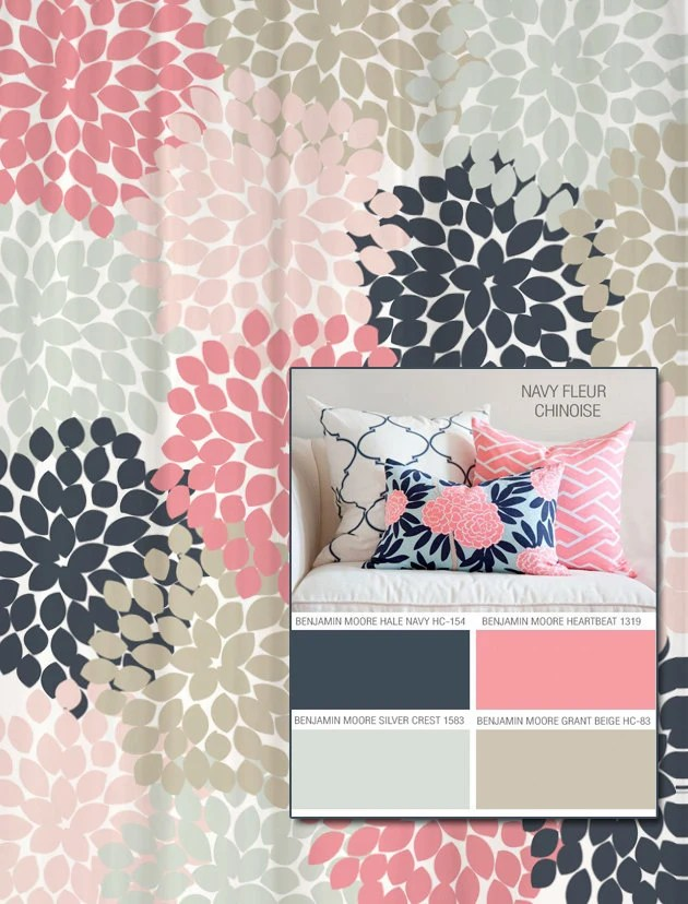 Shower Curtain In Navy And Pink Floral Standard And Extra Long