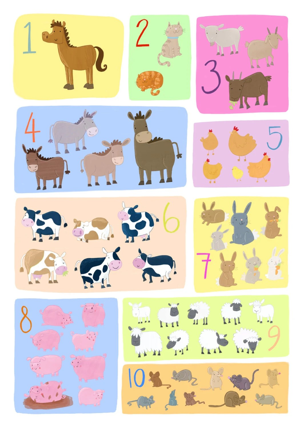Farm Animals Counting Poster 1 10 For Children Bedrooms And