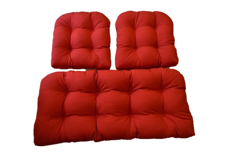 Indoor / Outdoor Wicker Cushion 3 Pc. Set Cherry Red Love