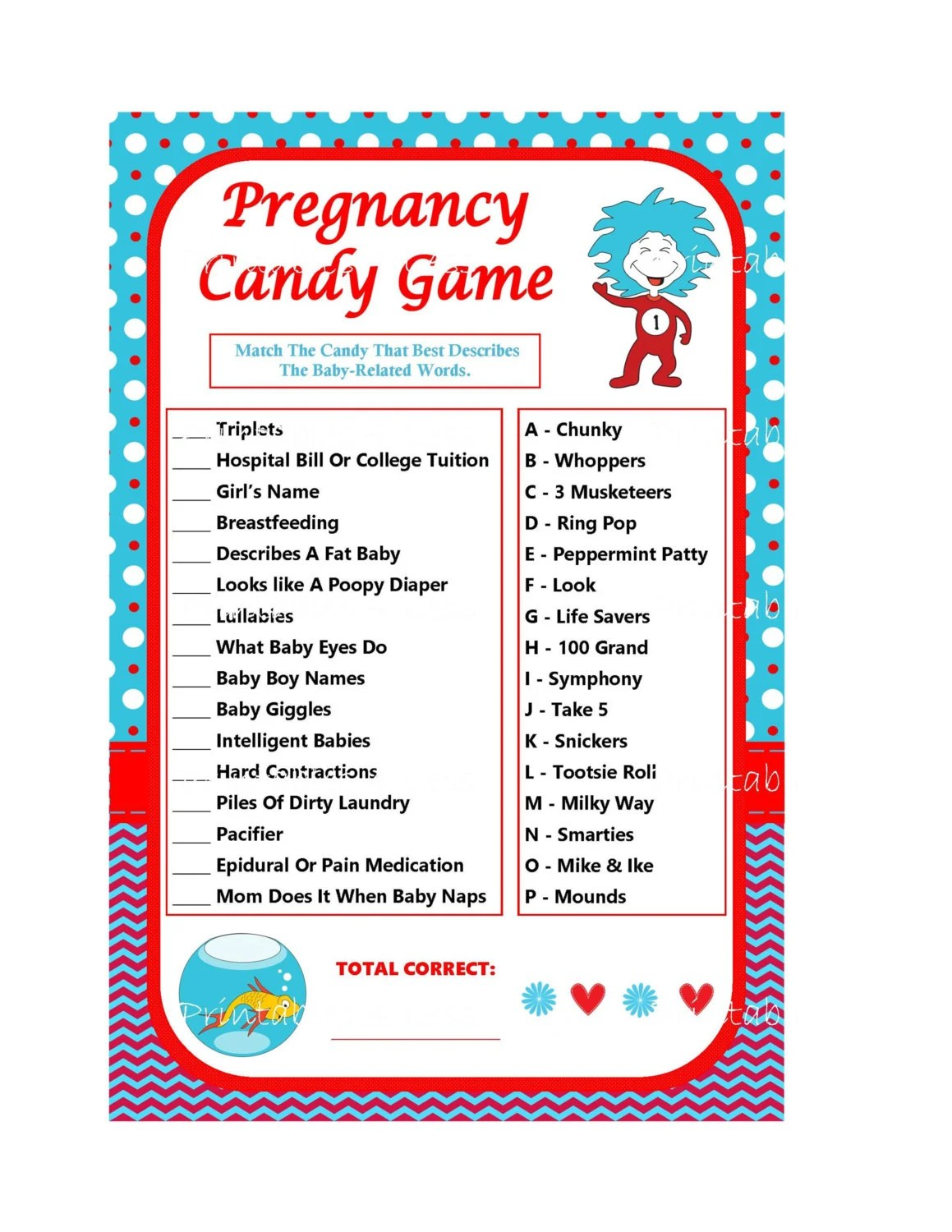 Dr Seuss Pregnancy Candy Game Printable Pregnancy Game Baby