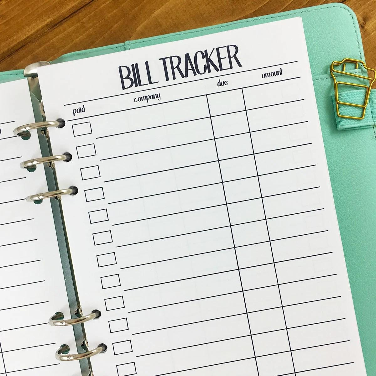 A5 Bill Tracker Printed Planner Insert Monthly Tracker