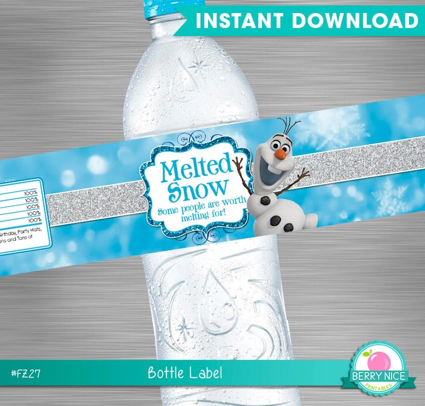 Melted Snow Water Bottle Labels Printable