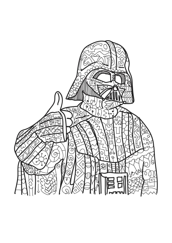 Darth Vader Star Wars Coloring Page Adult Coloring