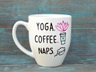 Yoga Mug, Coffee Mug, Yoga Coffee Naps, Namaste, Funny Mug, Large Mug