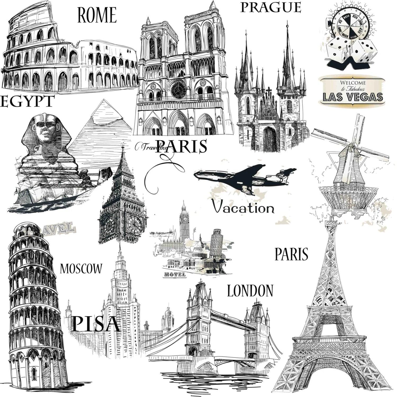 Cities Illustration Cities Clip Art City Clipart Travel Illustration Travel Clipart