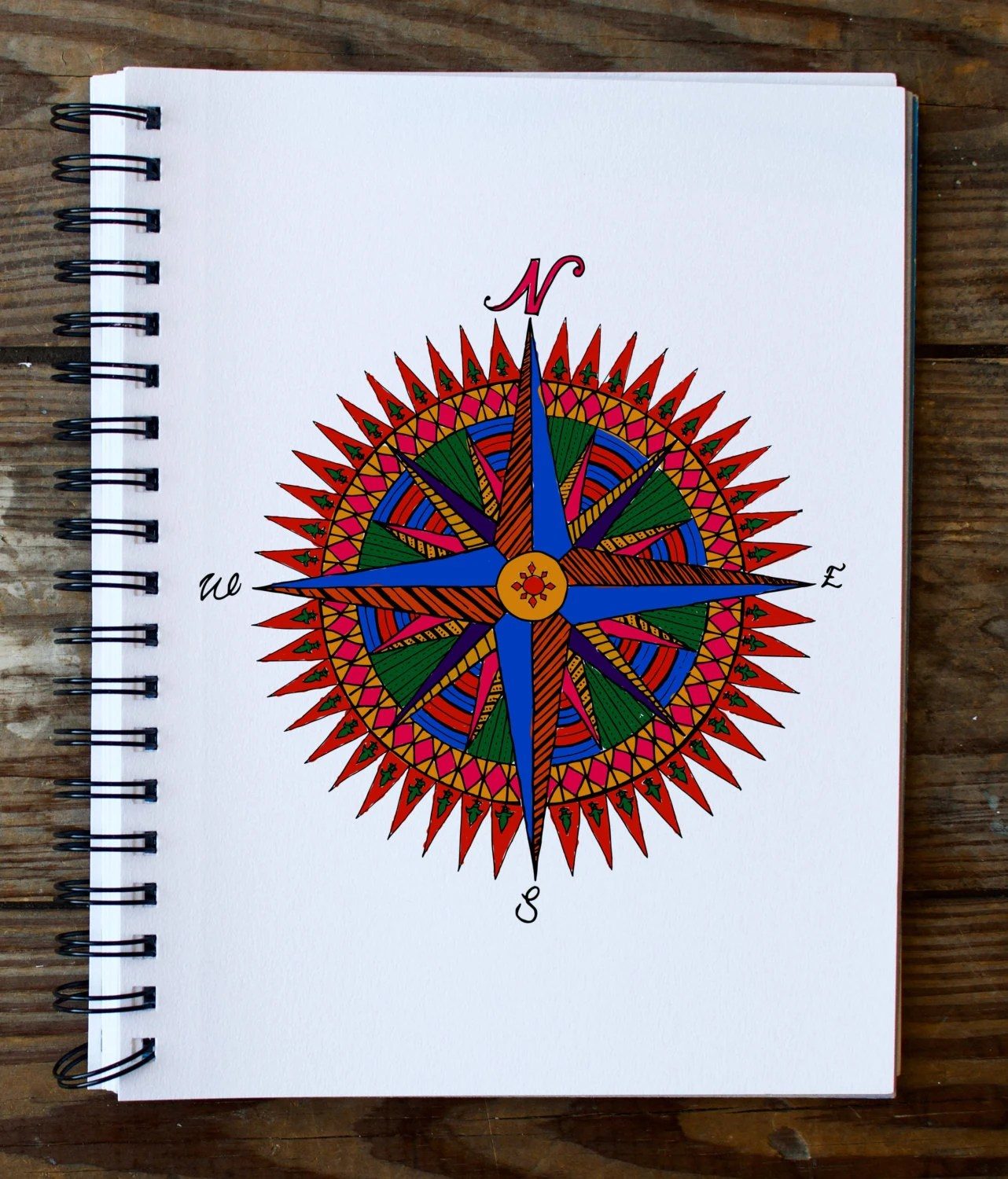 Compass Rose Mandala Coloring Page Instant Download