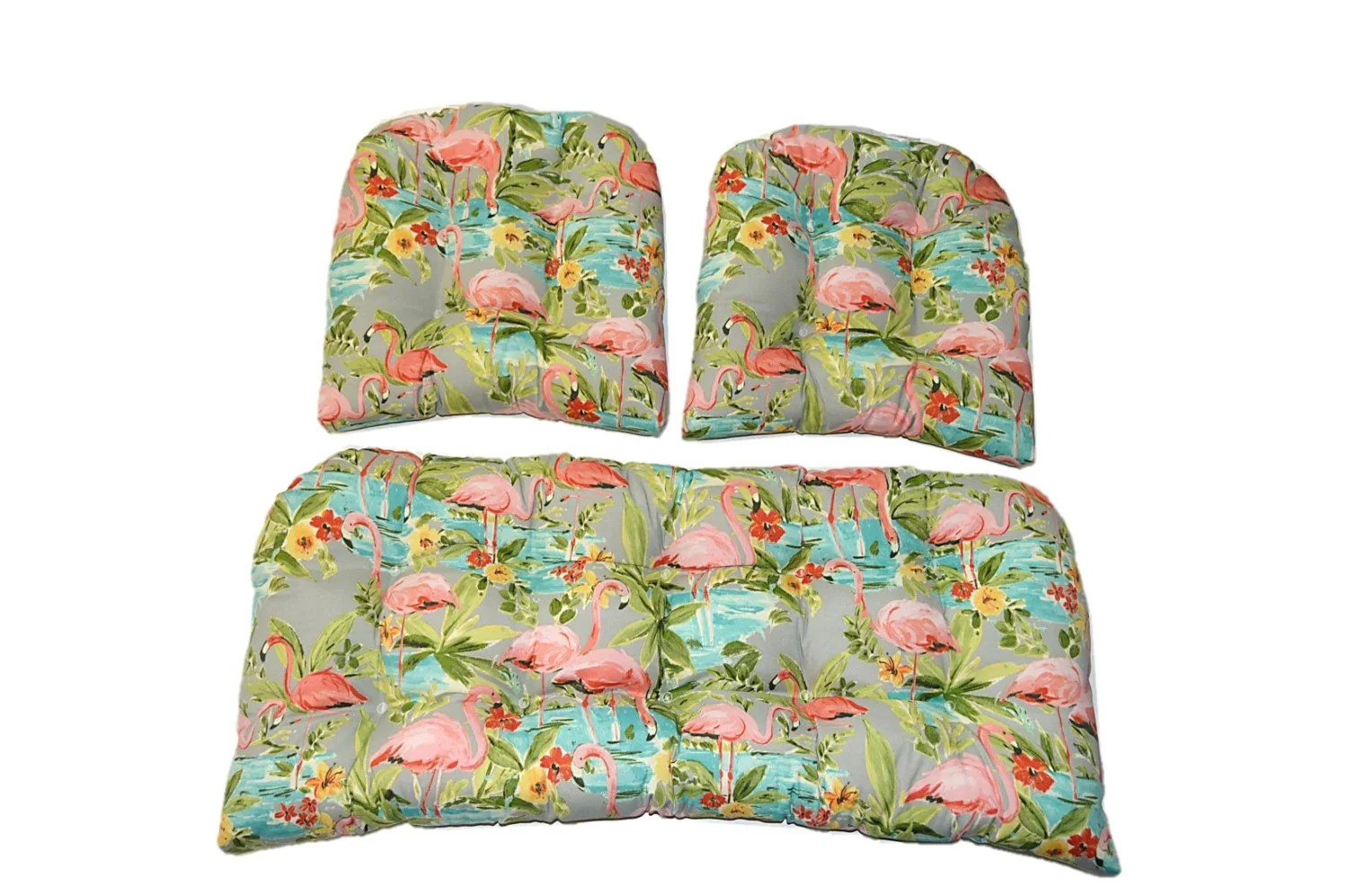 In / Outdoor Wicker Loveseat Settee Cushion & 2 Matching Chair