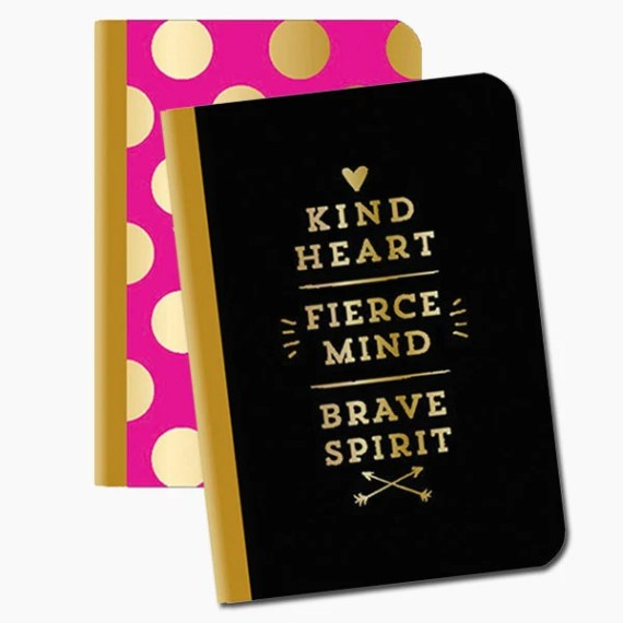 Set of 2 Gold Foil Notebooks | Kind, Fierce & Brave | Polka Dot Pattern | Pocket Notebooks