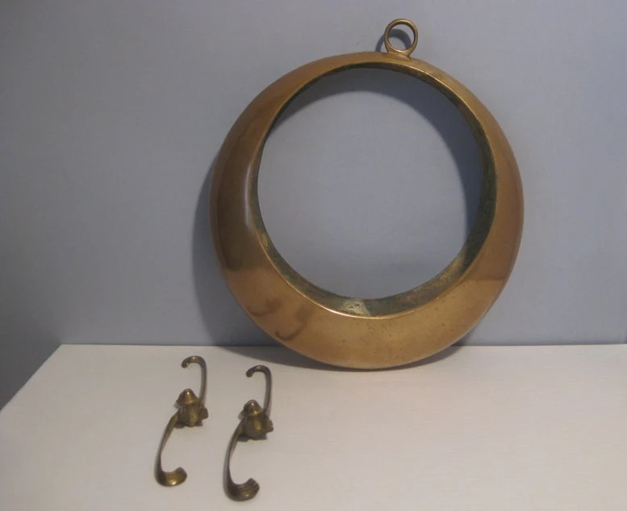 Vintage Moon Shaped Japanese Brass Bronze Hanging Flower Vase