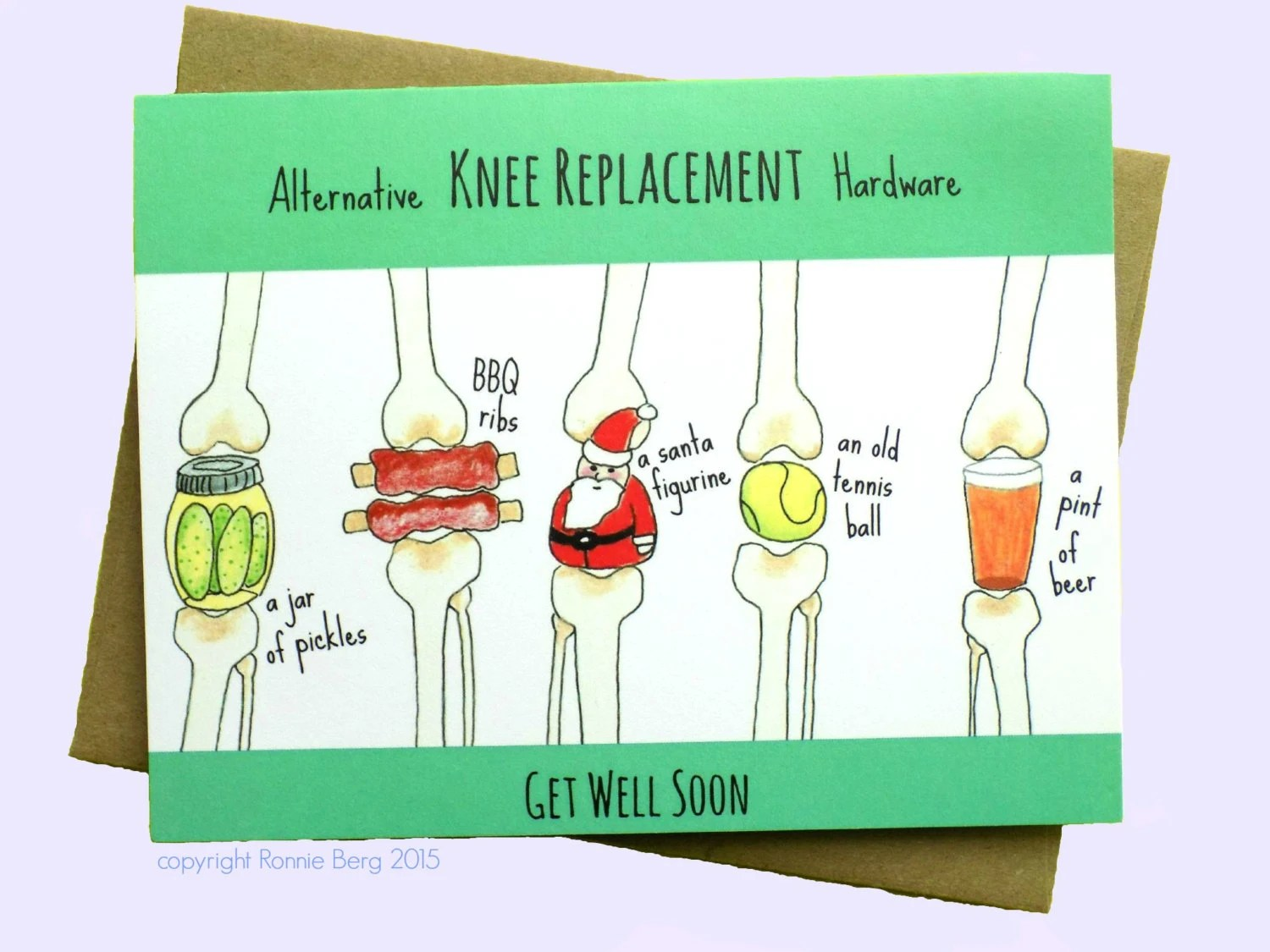 Knee Replacement Funny Get Well Card Knee Surgery By BangsAndTeeth