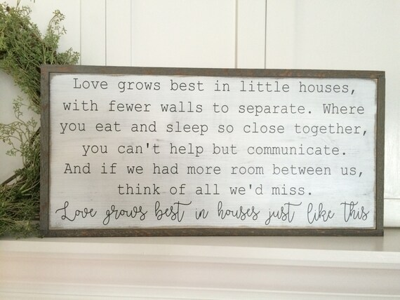 Download Love grows best in little houses wood sign. by Oldmillsigns