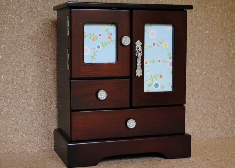 Refurbished Refinished Jewelry Box Dark Stain Floral Doors