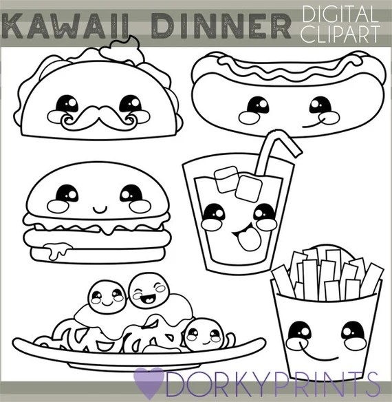 kawaii food clipart personal and limited commercial use cute