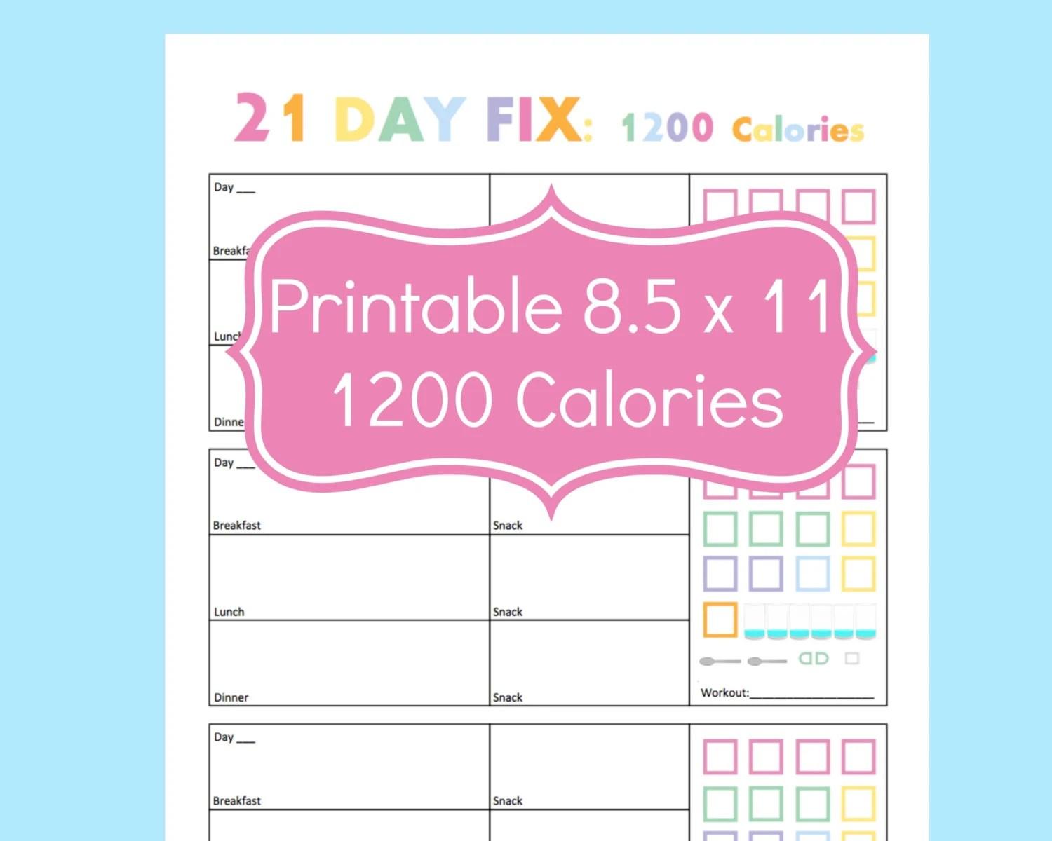 21 Day Fix Tracker 21 Day Fix Printables 21 Day By Commandcenter