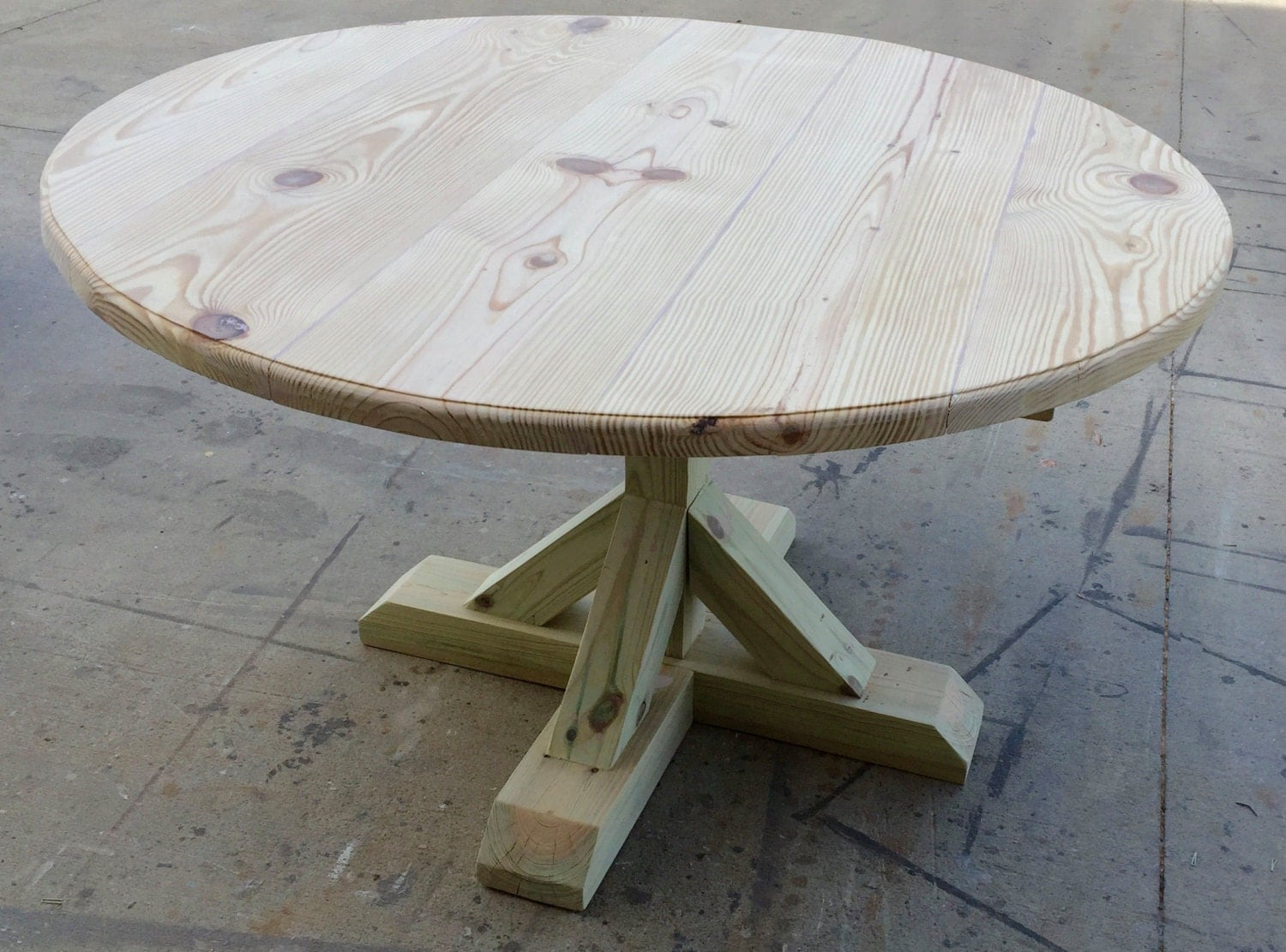 DIY Round Trestle Table By OnPointWoodDesign On Etsy