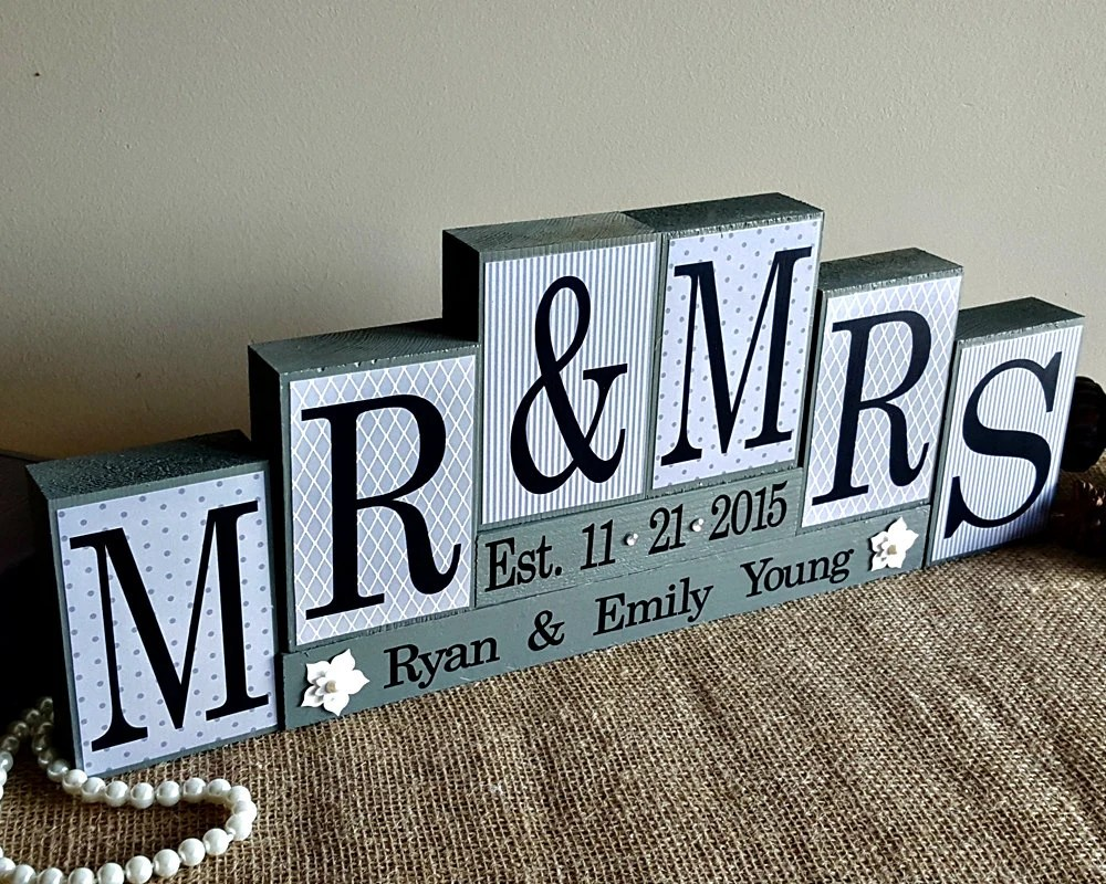 Personalized Mr And Mrs Wedding Sign Wooden Blocks