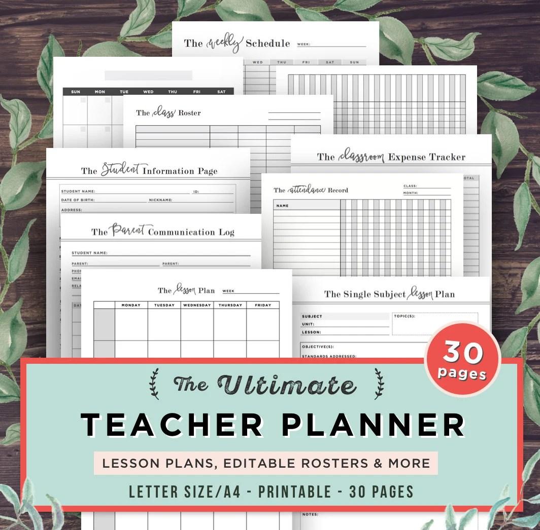 Teacher Planner Lesson Planner Printable Editable