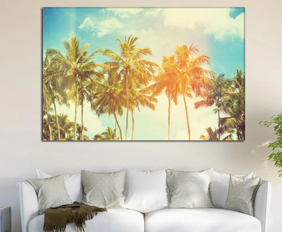 Palm Trees Canvas Print For Home Decor Tropical Coast Large