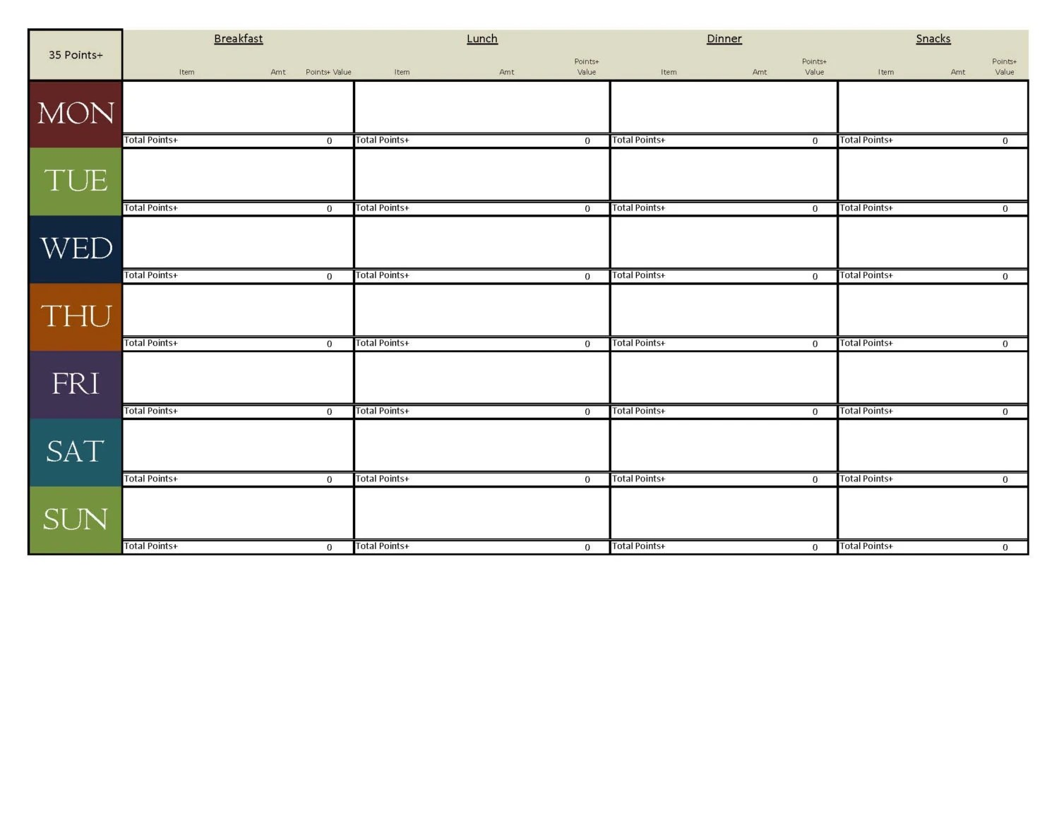 Meal Planning Template For Weight Watchers By Melissabgetsfit