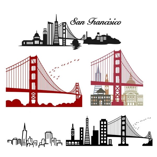 San Francisco Skyline Cuttable Design SVG DXF EPS Use With